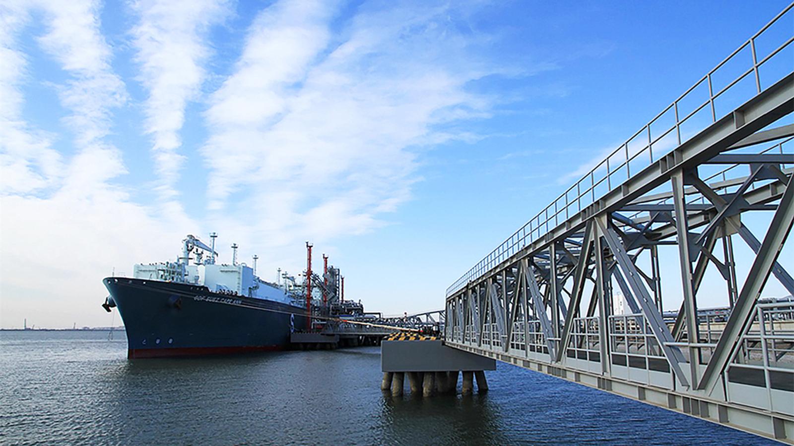 """亚博体育app官方下载苹果版高层代表团参观""""Cape Ann""""号浮式LNG储存船及LNG接收站的再气化装置"""